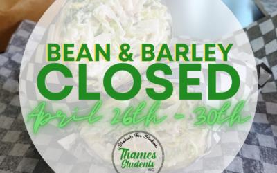 Bean & Barley Closed for Maintenance April 26th – April 30th